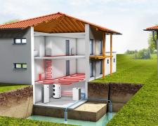 Heat pump for air conditioning and heating