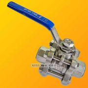 Stainless steel coupling valve 3-piece DN 15, steel AISI 304